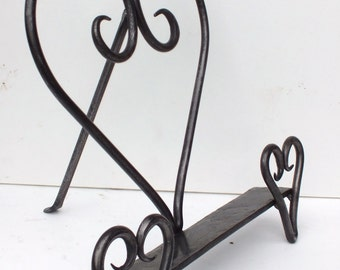 Unique Hand Forged Heart Cookery Book Stand - Valentine - Anniversary - Birthday