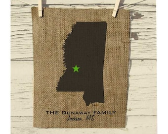 Mississippi Map, Burlap State Map, Burlap Art, Personalized Burlap Wall Art, Frame not included, Housewarming Gift, Room Decor, Wedding Gift