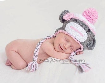 Baby Girl Sock Monkey Hat - Newborn Girl Hat - Girls Sock Monkey Hat