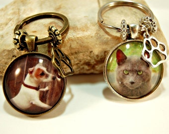 2 Personalized Pet Photo Key Ring  Custom Glass Tile HissyFits Key Chain Gift  for Friend Family