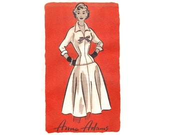 1950s Dress Pattern Mail Order Anne Adams 4577, Fitted Drop Waist, Full Skirt, V Neck w/ Bow Trim, Vintage Sewing Pattern Bust 30 Uncut