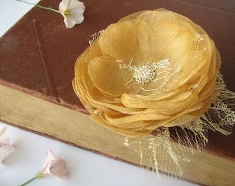 Golden yellow hair clip Organza flower Wedding hair piece Bridal head piece
