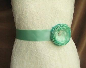 Mint bridal sash belt Wedding Floral sash Bridesmaid satin belt Flower girl dress sash mint green
