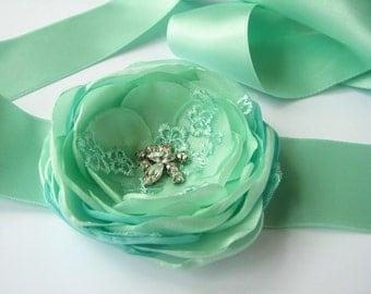 Mint belt sash mint green Wedding Sash with flower Floral bridal accessory Bridesmaid satin belt