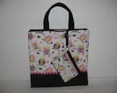 Zipper Closure / Sweet Owls Tote/ bag- Pink Grey
