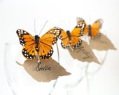 Butterfly Place Cards, Wedding Escort Card, Seating Plan, Table Decoration, Bright Summer Spring Wedding Theme, Orange Monarch Feather - 10