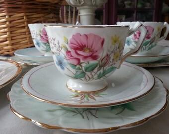 Gorgeous Aynsley X3 Crocus Mismatched Tea Set,  9 Pieces