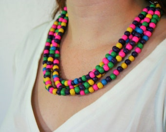 Multi - Color Beaded Confetti Necklace - Hand Dyed Wood Beads