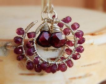 Garnet Hoop Earrings january birthstone gemstone Earrings Sterling Silver Wire Wrapped