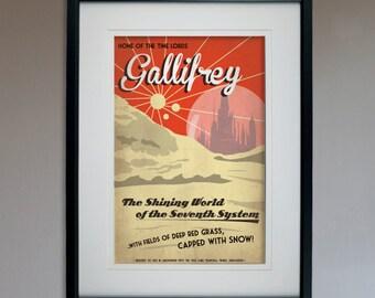 Retro Sci-Fi Gallifrey Travel Poster - Geek Home Decor Art Print