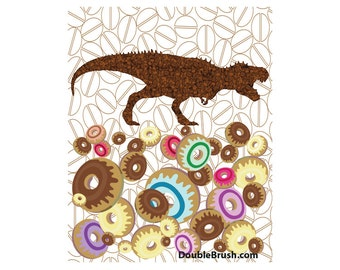 T-Rex Coffee and Donuts Print