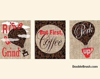 Coffee Gift Coffee Wall Art 3 Coffee Print Set