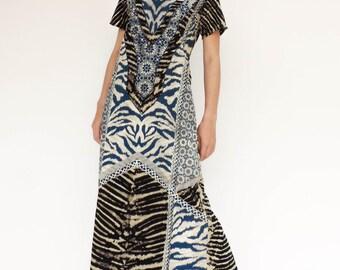 NO.139 Black, Cream and Blue Cotton Jersey Geometric Tie Dye Printed Day Dress