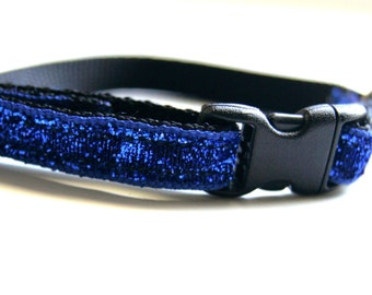 Royal Blue Sparkle Cat or Mini Dog Collar