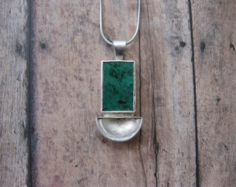 Solid Silver and Chrysocolla Pendant