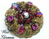 Vintage Brooch Made In Germany Aurora Borealis Rhinestone and Golden Filigree