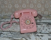 Reserved for Alana ~ Vintage BubbleGum Pink Rotary Phone