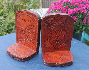 Leather Bookends - Vintage Tooled Leather Bookend - Primitive Aztez, Incan Faces, 3 faced man