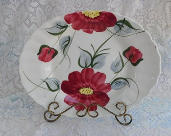Serving Platter 1940's kitchenware Mountain Rose Pattern Hand Painted Country Chic Rustic