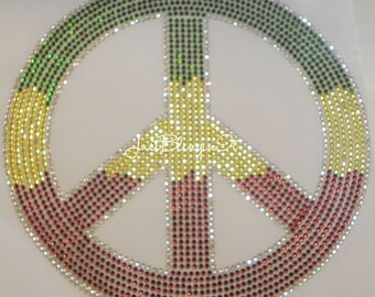 Huge Tri Color Peace Sign Hot Fix Iron On Rhinestone Transfer Bling Applique DIY