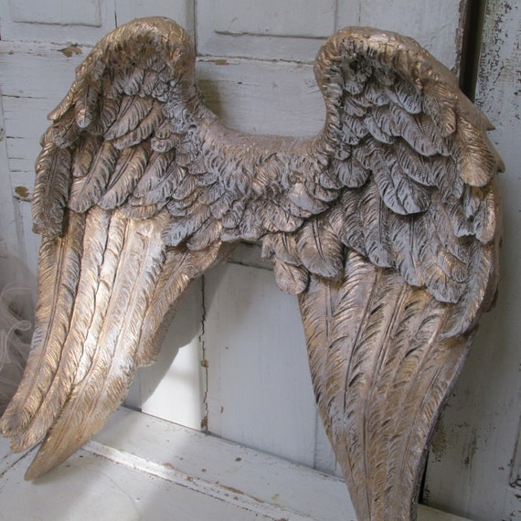 Large angel wings wall sculpture hand painted golden accented for Angel wings wall decoration uk