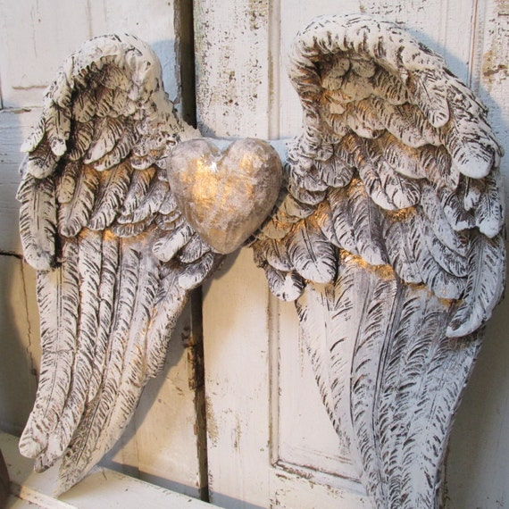 Decorative Wall Hanging Angel Wings : Angel wings wall decor shabby cottage white gray distressed