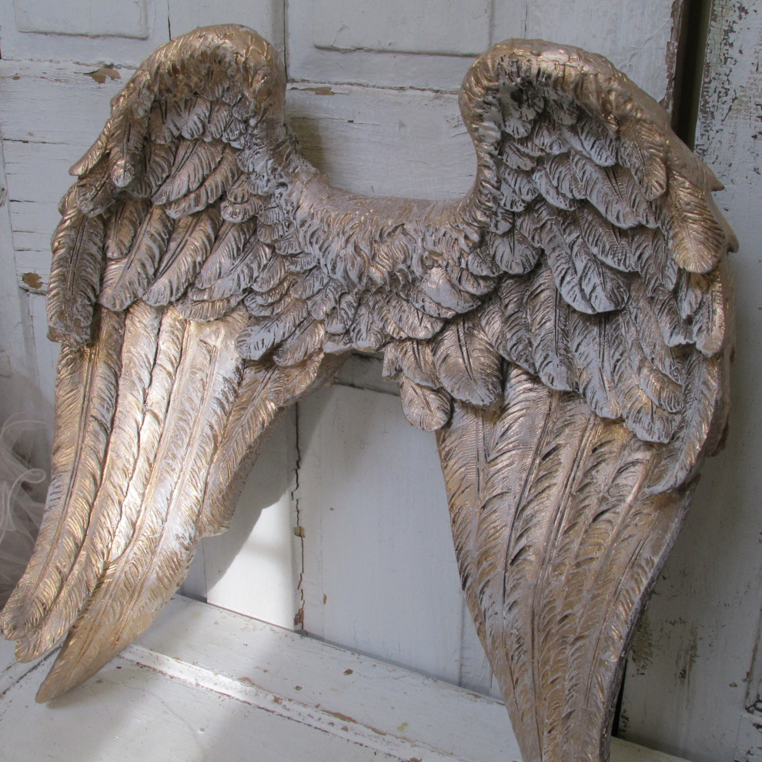 Large Angel Wings Wall Sculpture Hand Painted Golden Accented