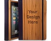 Bamboo iPad 2/3/4 Bookcase, Personalized iPad Case (Engraved with your custom design)