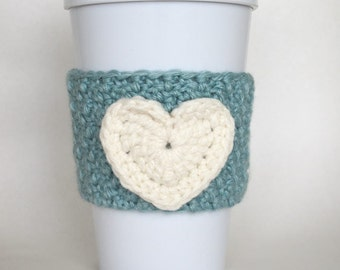 Crochet Heart Coffee Cup Cozy Seafoam Green and Cream