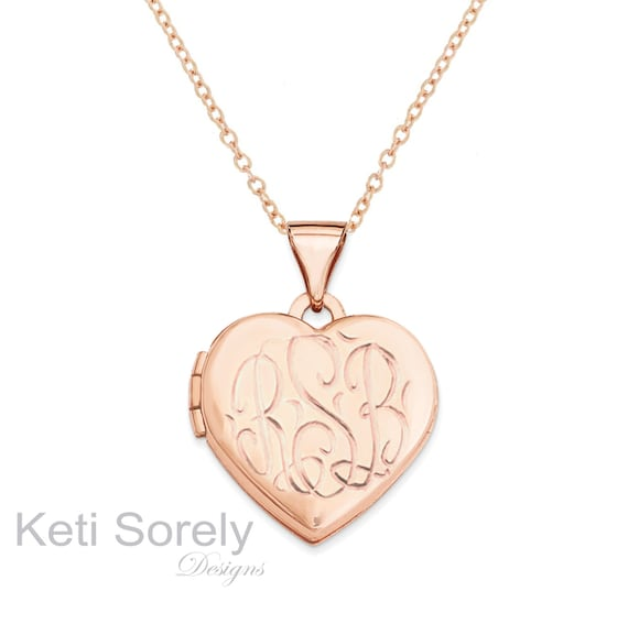 hand engraved heart monogram locket in rose gold customized