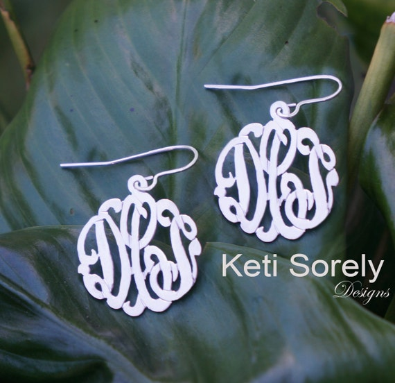 Handmade Monogram Initials Earrings - Small To Large Sizes (order any name)- Sterling Silver