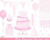 Pink Birthday Clipart Set