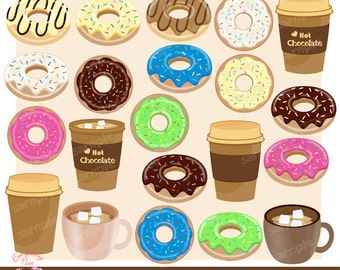 Donuts and Chocolate Drinks Clipart Set