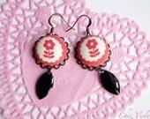Daisy earrings, Coral, daisies earrings, Scandinavian design, Orange and black