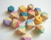 Pastel Geometric Mix Wood Beads,Hand Painted wood Beads, Summer Geometric Jewelry,Do it Yourself Geometric necklace