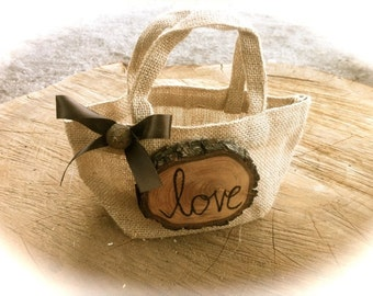 Rustic wedding burlap flower girl basket country fall winter weddings