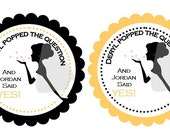 """Personalized 2.5"""" OR 2"""" Round He Popped the Question Bridal Shower Stickers, popcorn favor stickers, bridal shower favors"""