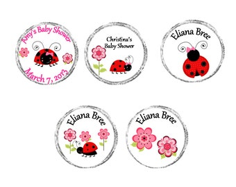 Personalized Ladybug Baby Girl Baby Shower chocolate Labels - sheet of 108