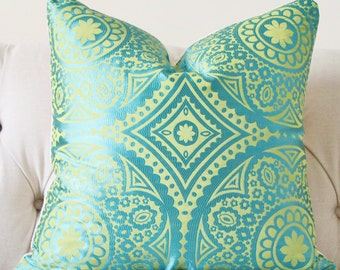 Designer Turquoise Pillow -Blue Green Geometric Suzani Pillow Cover - Decorative Throw Pillow - Teal Pillow - Moroccan Pillow