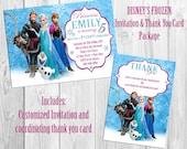 Disney Frozen Birthday Invitation & Thank You Card Package
