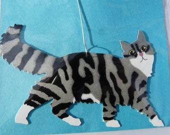 Metal Long-Hair Grey Tiger Cat Ornament