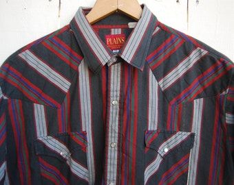 WESTERN STRIPES Black White and Red Snap Button Down Short Sleeve Shirt
