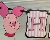 Pink PIGLET Pooh Bear Disney Happy Birthday Banner Disney