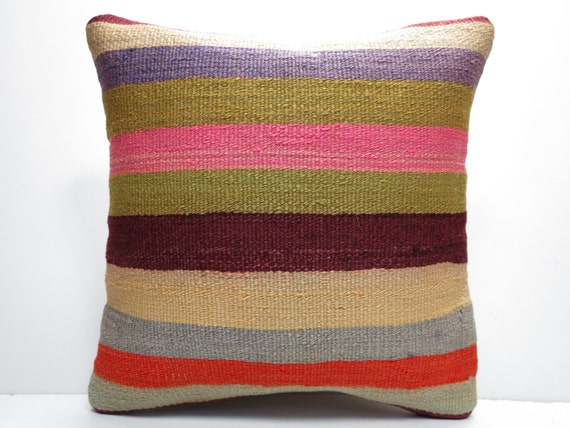 "MODERN Bohemian Home Decor,Turkish Kilim Pillow Cover  16"" X 16"",Area Rug Pillow,Vintage Kilim Pillow, Cotton Pillow,Throw Pillow"