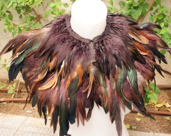 Brown  rooster   feathers shall.Shoulders  Feathers cape . gothic decadence costume ,vintage capelet .