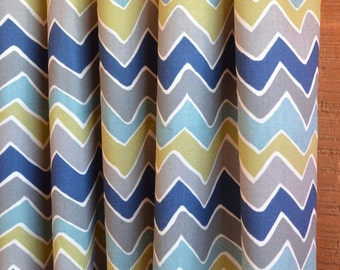 SUMMER SALE! Curtains, Designer Curtain Panels 24W or 50W x 63, 84, 90, 96 or 108L Seesaw Felix Blue Olive Natural shown