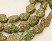 Unusual Green African Beads (9), Recycled Glass Beads (A23)
