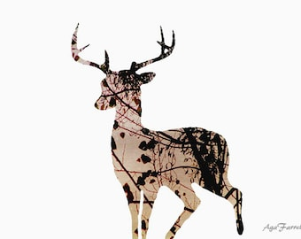 Kids Art, Deer Print, Abstract Art, Woodland Nursery, Kids Room Decor, Animal Print, Tree Pattern, Antlers, Brown Home Decor