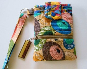 Cell Phone Wallet Wristlet Designer Cotton Lined Asian Parasols Birds--Ready to Ship