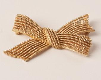 Vintage Gold Tone Bow Tie Brooch